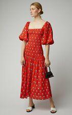 Rhode Resort Harper Dress Red Mini Dress Floral Printed Boho Cotton XS Nw 205240