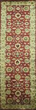 """All-Over Floral RED/GREEN Agra Oriental Runner Rug Hand-Tufted Wool 9' 0 x 2' 6"""""""