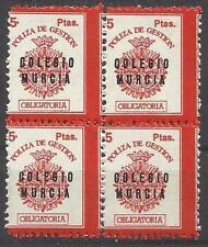 5229-MNH** BLOQUE 1X4 SELLO FISCAL NUEVO** COLEGIO GERTORES DE MURCIA POLIZA DE