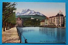 AK Luzern 1905-15 Hotel des Balances & Bellevue Häuseransichten Quai !!