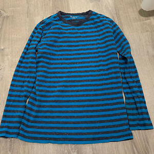 The Childrens Place Boy Top Sz XL Blue Gray Striped Crew Neck Long Sleeve TShirt