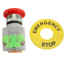 Red Mushroom Cap 1 NO 1 NC DPST Emergency Stop Push Button Switch AC 660V 10A