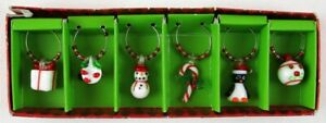 Pier 1 One Imports Set of 6 Christmas Holiday Drink Wine Glass Charms Markers