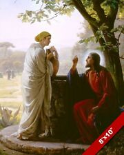 JESUS CHRIST & WOMAN AT THE WELL PAINTING CHRISTIAN BIBLE ART REAL CANVAS PRINT