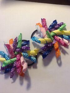Madelienas Handmade GIRLS SHORT CURLY KORKER hair ties as pictured