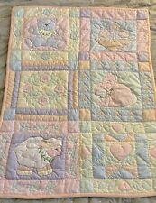 "Vintage House of Hatten Baby Quilt Pink Pastel Animals Flowers Clean 46""x34"""