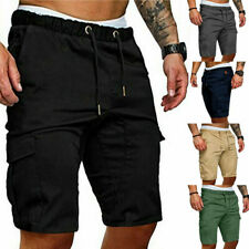 Mens Joggers Army Casual Work Cargo Shorts Trousers Combat Drawstring Half Pants