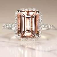 3Ct Emerald Cut Peach Morganite Halo Diamond Engagement Ring 14K White Gold Over