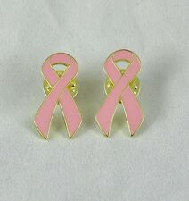Lot of 2 Metal Breast Cancer Awareness USA Pink Ribbon Button, Lapel Pin, Brooch