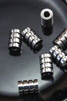 Stainless Steel Lot of 10 Grooved 9mm x 6mm Tube Silver Spacer Beads Hole 3mm