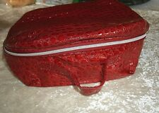 Red Train Case Cosmetic Make Up or Travel Bag Case Avon Zips .