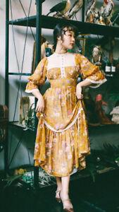Women Vintage Floral Lace Victorian Antique Dress