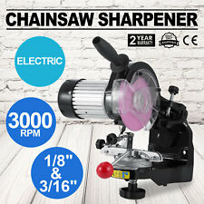 "Electric Chainsaw Bench Grinder Sharpener Comes with 1/8"" 3/16"" Wheels and Tools"
