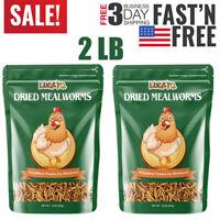 2 lbs Bulk Dried Mealworms NON GMO Organic Fish Bluebirds Chickens Gliders Hen