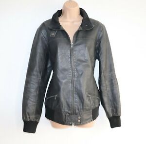 Women's Vintage ELLOS Bomber Pilot Aviator Grey 100% Leather Jacket Coat UK16