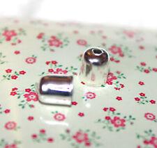 40x Silver tone cord end/bead caps/mini tassel caps - 6mm x 4mm