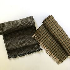 Lot Of 2 Unisex Scarves Herringbone Plaid Grey Brown