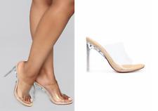 Womens High Heel Peep Toe Mule Ladies Open Back Glass Effect Shoes Size Unique