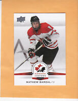 2014 UPPER DECK TEAM CANADA JUNIORS #121 MATHEW BARZAL TEAM CANADA / ISLANDERS