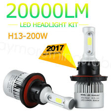 H13 9008 200W LED HEADLIGHT TRUCK BULBS LAMP 6500K WHITE KIT HI/LO BEAM S2 LUG