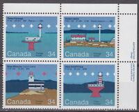 CANADA #1063-1066 34¢ Canadian Lighthouses UR Inscription Block MNH
