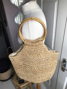 Rafia Woven Bamboo Handle Lined Large Bag Ex Con