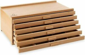 6 Drawer Wood Artist Supply Storage Box Organizer Craft Art Pastel Pencil Brush