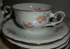 SIX VINTAGE CUPS AND SAUCERS, GERMANY, WAR ZONE, FLORAL W/GOLD TRIM