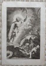 Gravure Religieuse XVIIIème par Claude Drevet -  Apparition Jésus-Christ