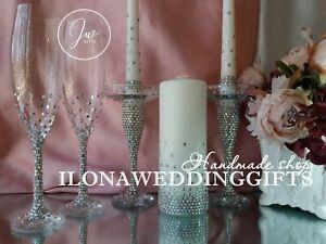 Swarovski Crystal Personalized Toast Glass Centrepiece Bling Sparkle Modern Boho