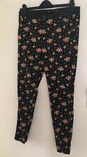 Zara Floral print Trousers Black Cigarette size 10 EUR 38
