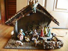 Vtg Nativity Set Italian Musical hand painted lights 1960-1970 orig box 13 piece