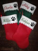 """19"""" Personalized Pet Felt Christmas Stocking - Dog or Cat"""