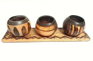 WORX OF AFRICA 3 WOODEN TEA LIGHT CANDLE HOLDERS HANDCARVED W/ TRAY