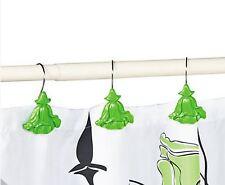 Set of 12 Green Flower Shower Curtain Hooks - NEW
