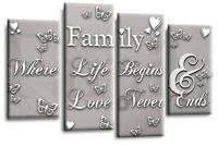 Black White Family Quote Wall Art Canvas Powder Grey Love Picture 4Panel Split