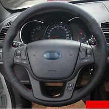 Anti Slip Black Leather Hand Sewing Steering Wheel Cover For Kia Sorento 2013