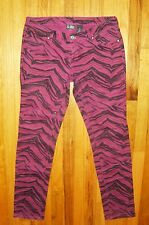 CITY STREETS~ Size 9~ Denim SKINNY / SLIM JEANS~ Purple & Black Animal Print