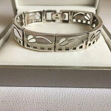 Scottish Sterling Silver Rennie Mackintosh Style Panel Bracelet HM Edinburgh 21g