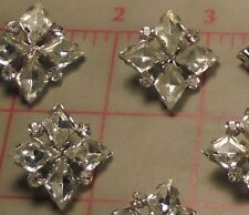 "2 LARGE Vintage Silver Rhinestone Czech Shank Buttons 4 Diamond Design 7/8"" #290"
