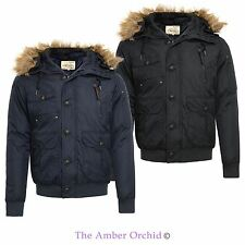 Brave Soul Zip Fur Parkas for Men