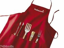 4 Piece Wood Handled Barbecook Barbecue Tool Set & Apron, BNIB