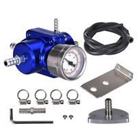Jdm Universal 0-140 Psi Adjustable Fuel Pressure Regulator W// Gauge Blue