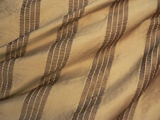 Drapery Upholstery Fabric 100% Silk Tone-on-Tone Rouched Stripe - Taupe