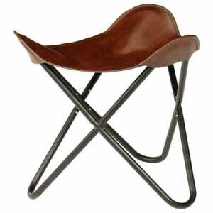 Handmade Vintage Brown Leather Butterfly Footstool Rest Butterfly Folding Stool