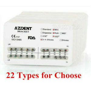 20X Dental Orthodontic Metal Brackets Standard Roth/MBT Slot.022 018 AZDENT