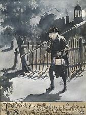 Orig drawing signed Henry Martin Beal the old watchman Illustrator Massachusetts