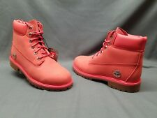 "Timberland 6"" Premium Boots Casual Spiced Coral Silver Girls Size 6 FLOOR MODEL!"