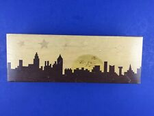 Vintage Wooden Pencil Box Cityscape Moon Stars Compartments Metal Clasp