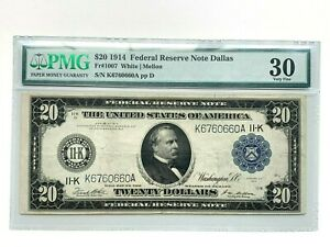 1914 $20 Federal Reserve Note Dallas Fr. 1007 Graded PMG 30 - Very Fine